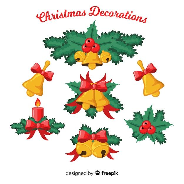 Christmas bells decoration Free Vector