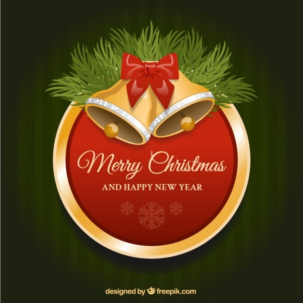 Christmas bells red rounded label Free Vector