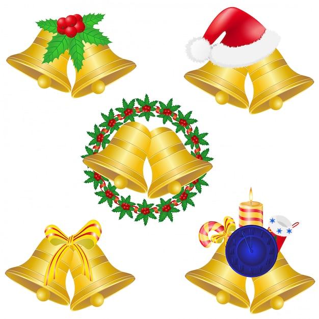 Christmas bells set icons Premium Vector