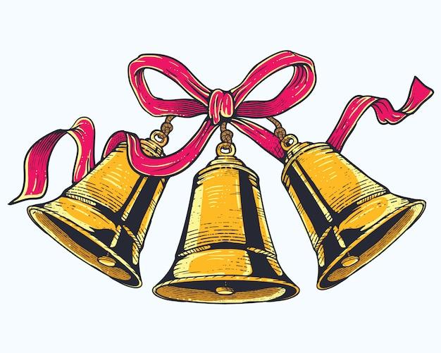 赤いリボンとクリスマスの鐘 Premiumベクター