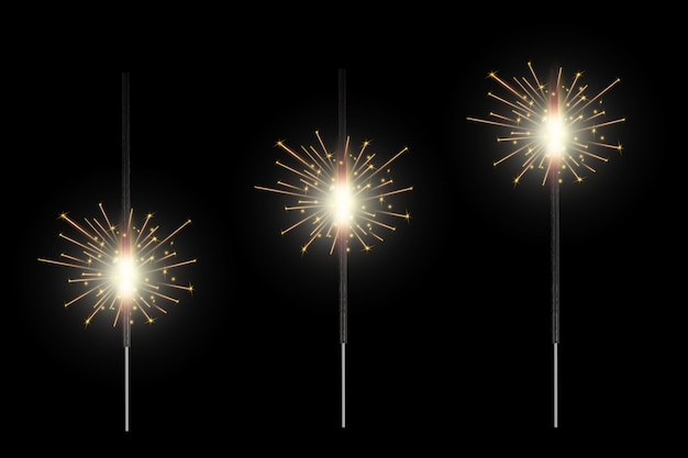 Christmas bengal fire glow light sparks, fireworks Premium Vector