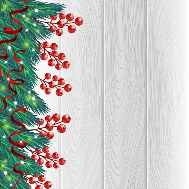Christmas berries white background Premium Vector