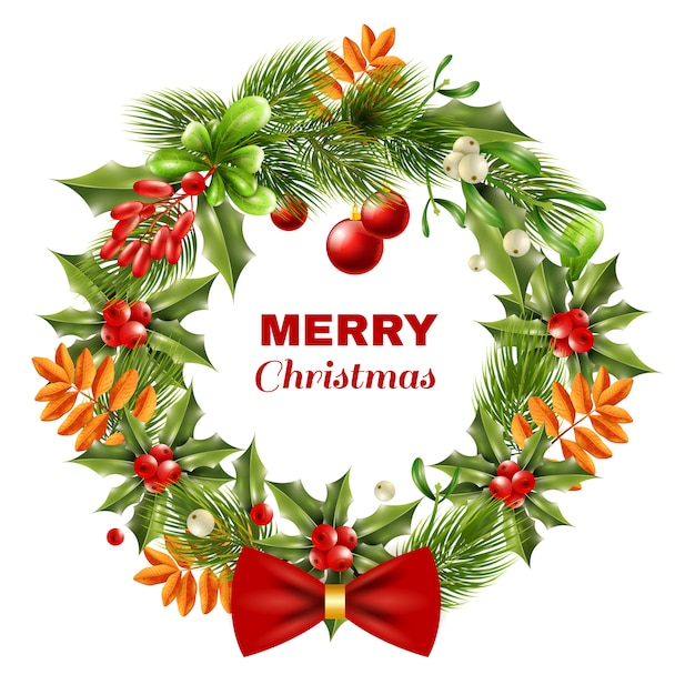 Christmas berry branches wreath Free Vector