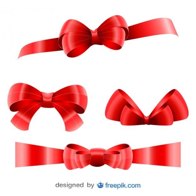 Christmas Big Red Ribbons Set  Free Vector