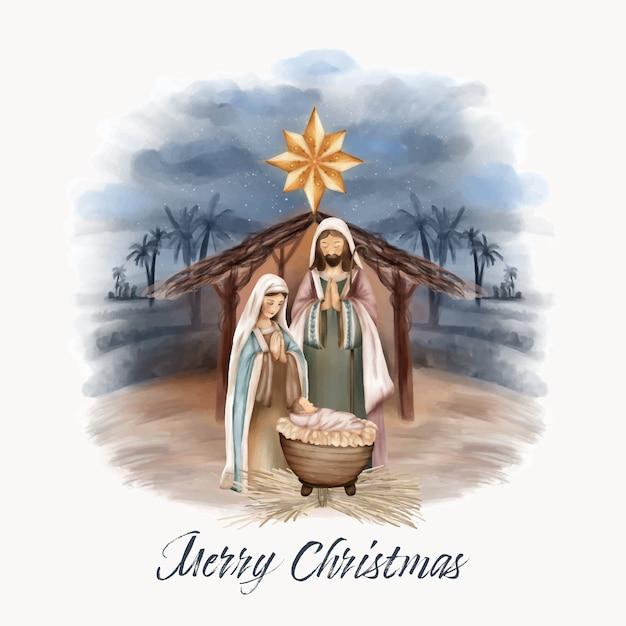 Christmas birth of jesus in barn Premium Vector