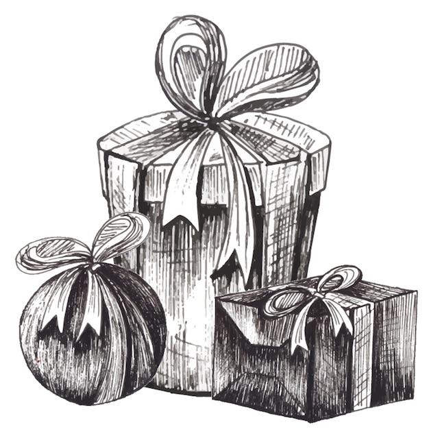 Immagini Natale In Bianco E Nero.Sfondo Di Elementi In Bianco E Nero Di Natale Vettore Gratis