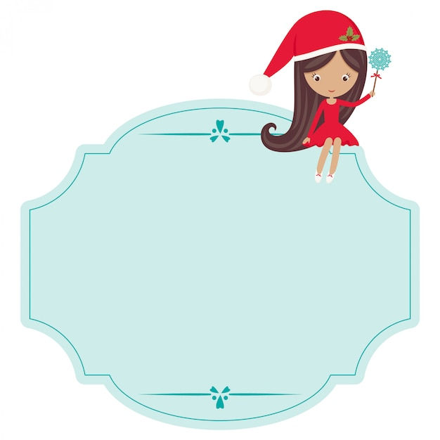 Christmas bland label with little girl in christmas gawn Premium Vector