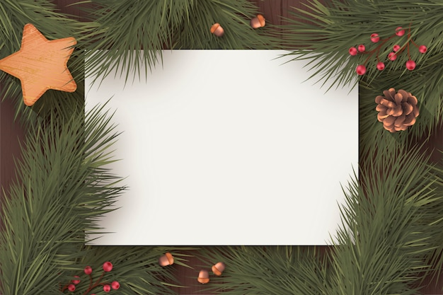 Christmas blank card template with winter nature Free Vector