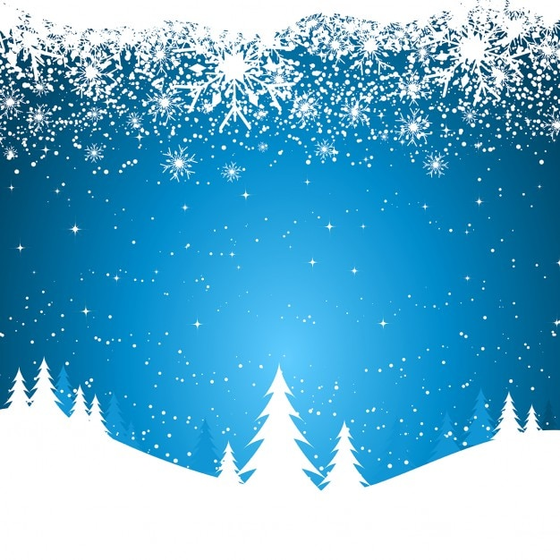 Christmas blue background with white snow\ flakes