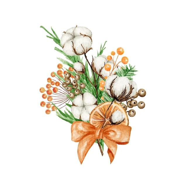 松の枝、シナモンスティック、スターアニス、綿の花のクリスマス自由奔放に生きる花束。水彩ヴィンテージ構成分離イラスト。 Premiumベクター