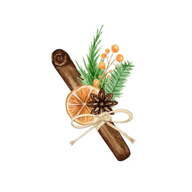 松の枝、シナモンスティック、スターアニス、オレンジのクリスマス自由奔放に生きる花束。水彩ヴィンテージ構成分離イラスト。 Premiumベクター