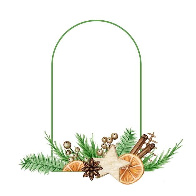 소나무 가지, 계피 스틱, 스타 아니스, 오렌지로 설정 크리스마스 Boho 프레임. 수채화 빈티지 테두리 격리 된 그림. 프리미엄 벡터