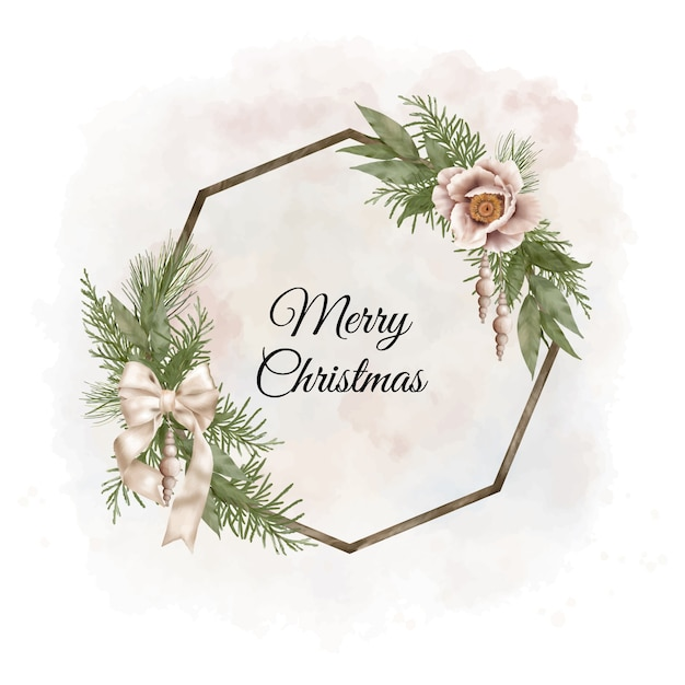 Christmas boho wood wreath with pine branches, ribbon and flowers Premium Vector