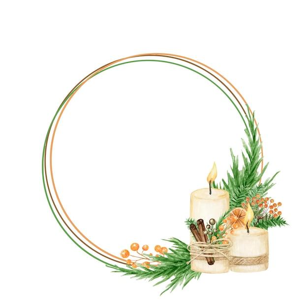 소나무 가지, 촛불, 계피 스틱, 스타 아니스, 오렌지와 함께 크리스마스 Boho 화환 프레임. 수채화 빈티지 테두리 프리미엄 벡터