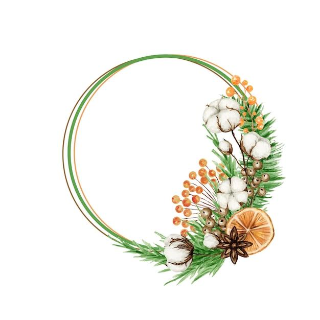 松の枝、スターアニス、綿の花とクリスマス自由奔放に生きる花輪。水彩ヴィンテージ冬ボーダー孤立イラスト。 Premiumベクター