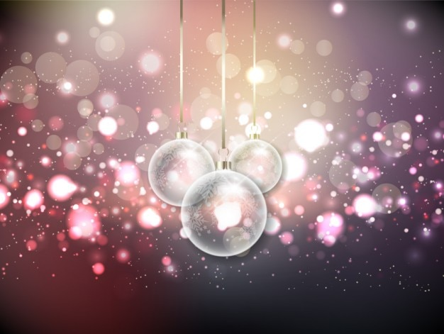 Christmas bokeh background with crystal baubles Free Vector