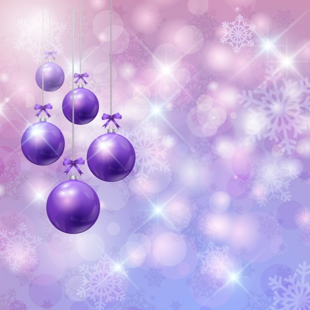christmas bokeh background with purple baubles vector free download