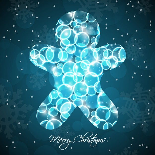 Christmas bokeh gingerbread cookie background Free Vector