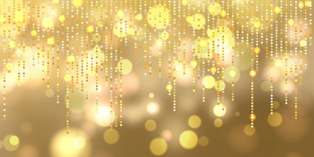 Christmas bokeh lights banner Free Vector