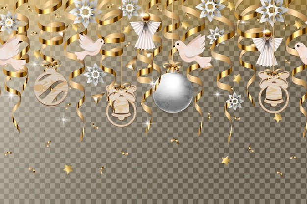 Christmas border with gold serpentines and balls isolated. Premium Vector