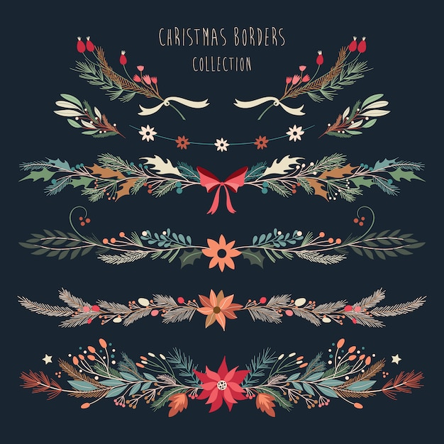 Christmas borders collection with decorative hand drawn seasonal flowers and plants Premium Vector
