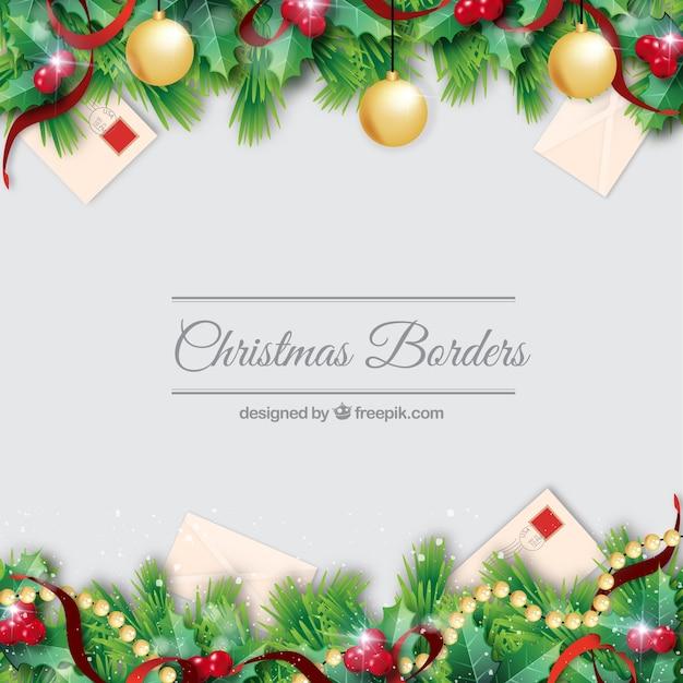 christmas borders decorationb set vector free download