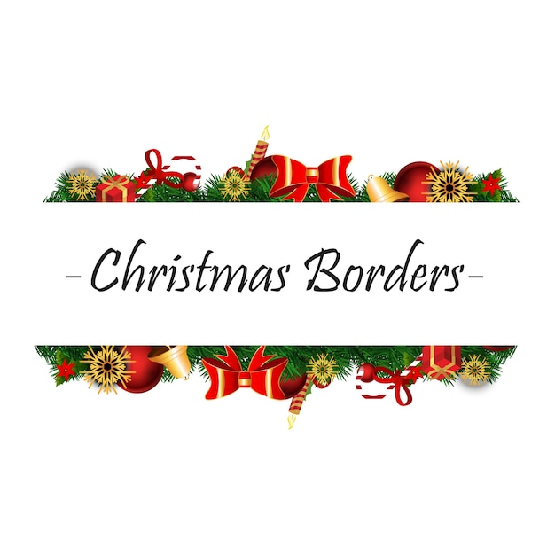 Christmas Borders having Christmas realistic elements on white background Free Vector