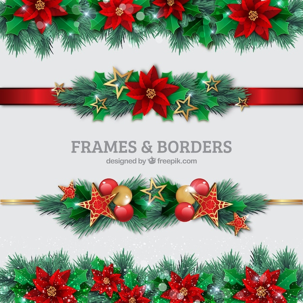 Free Christmas Borders.Christmas Borders Set Vector Free Download