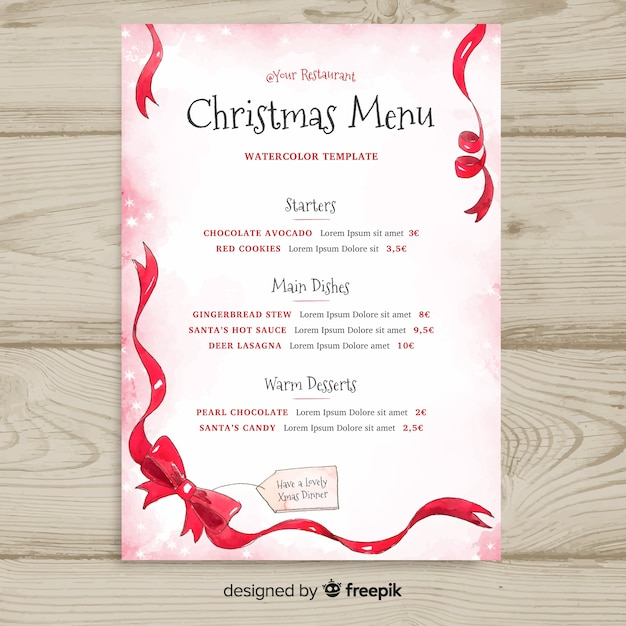 christmas bow menu template vector free download