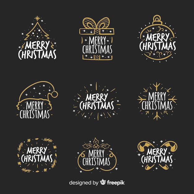Christmas calligraphic badges collection Free Vector