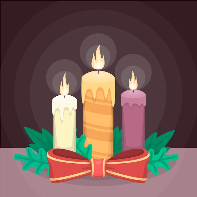 Christmas candle background in flat design Free Vector
