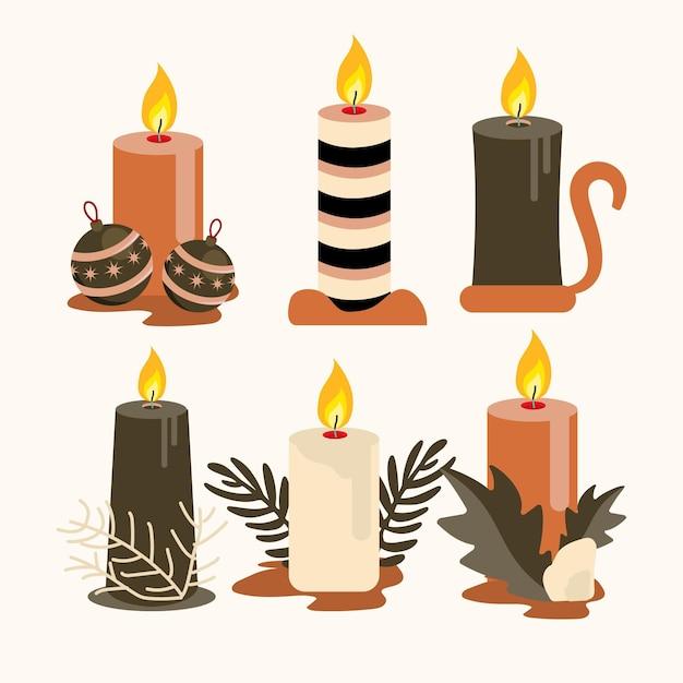Collezione di candele natalizie in design piatto Vettore gratuito