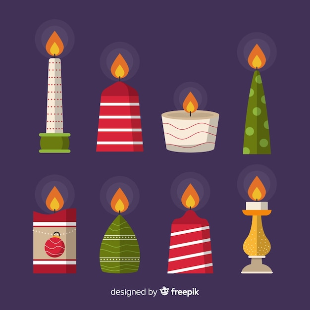 Christmas candle collection Free Vector