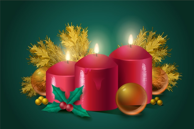 Christmas candle realistic background Free Vector