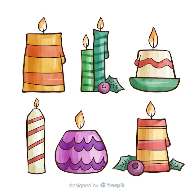 Christmas candles collection Free Vector