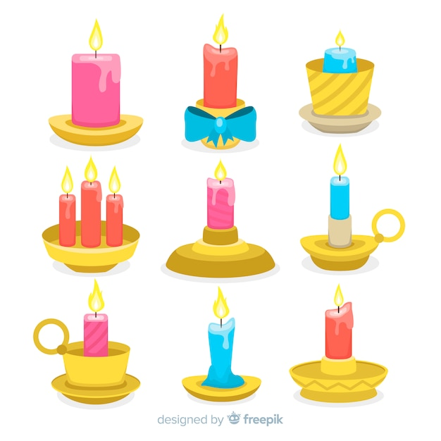 Christmas candles with candle holder Free Vector