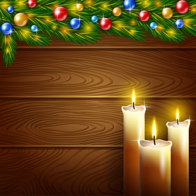 Christmas candles and wooden background Premium Vector