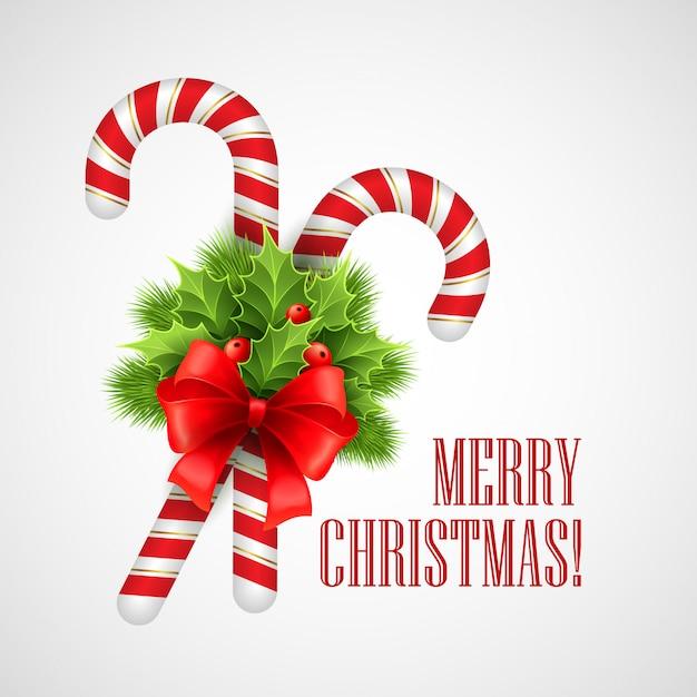 ホリーと赤の弓、グリーティングカードクリスマスキャンデー杖。 Premiumベクター