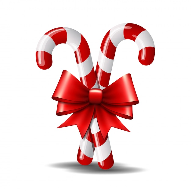 Premium Vector Christmas Candy Cane With Red Bow Isolated On White