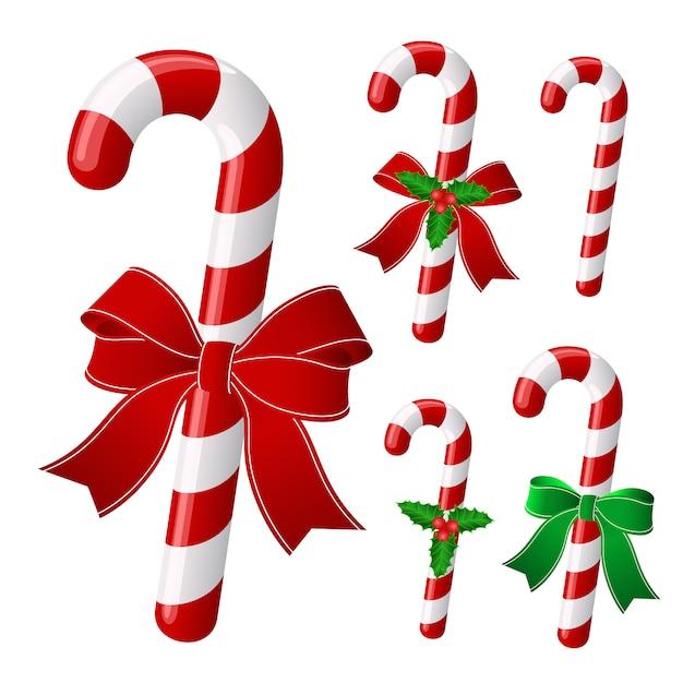 Christmas candy set Premium Vector