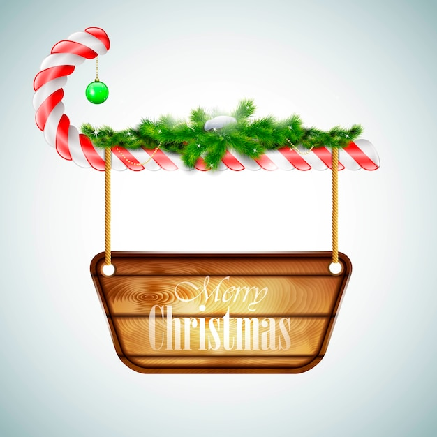 Christmas candy with wooden board. Premium Vector