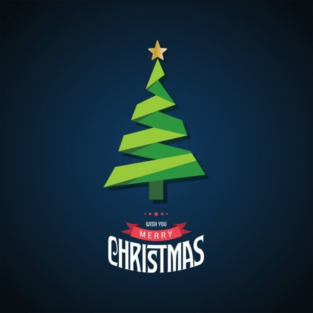 Christmas card background with origami tree Free Vector