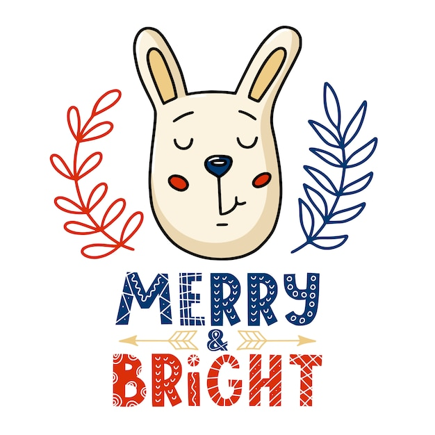 Christmas card - bunny and merry bright text Premium Vector