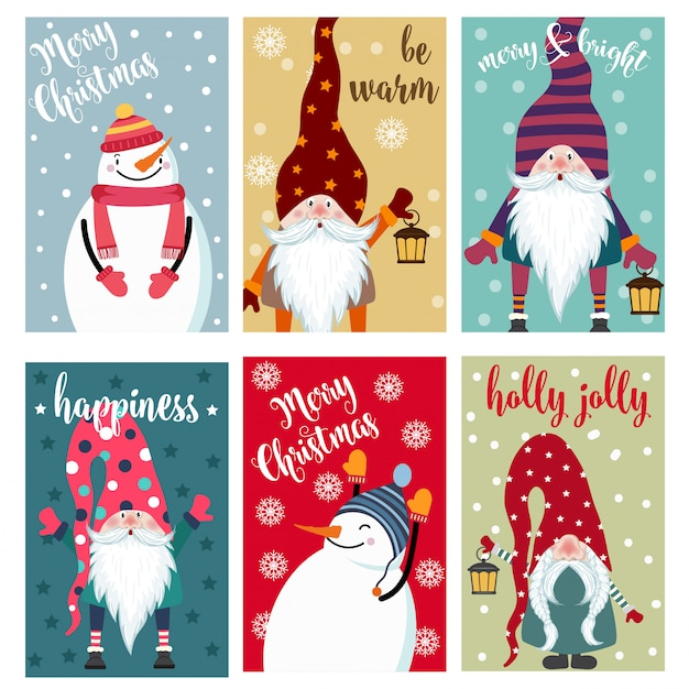 Christmas card collection with snowman and gnomes. labels. stickers. Premium Vector
