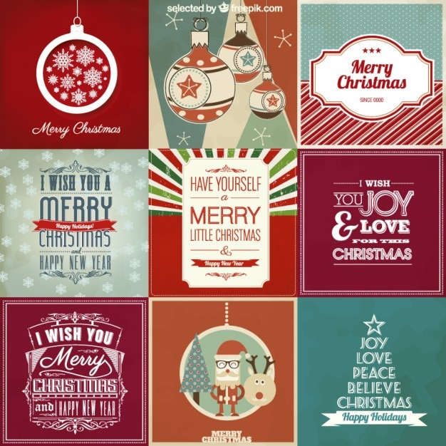 Christmas card collection Free Vector