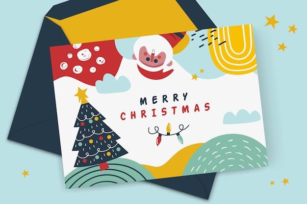 クリスマスカードのコンセプト 無料ベクター