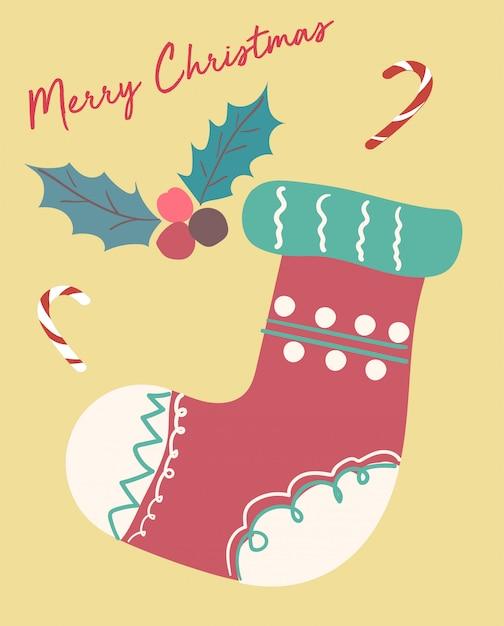 Christmas card cute fastive vintage sock flat vector Premium Vector