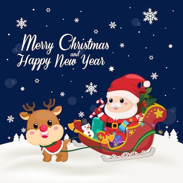 Christmas card on dark navy background Premium Vector