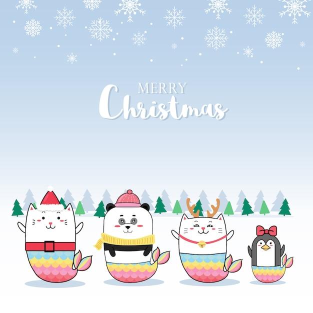 Рождественская открытка с милой мультяшной русалкой Premium векторы