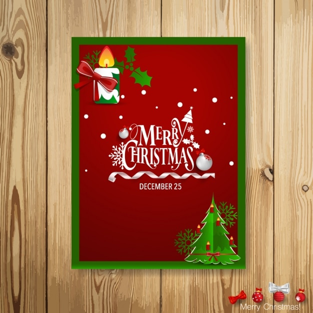 Christmas card design Free Vector